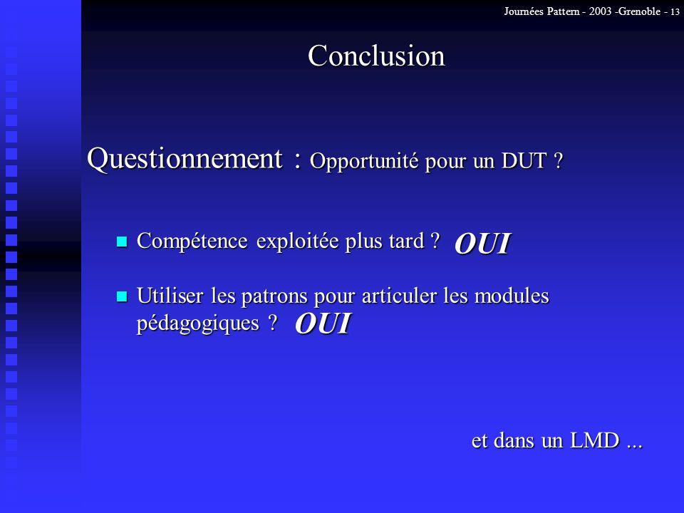 Journées Pattern - 2003 -Grenoble - 13 Conclusion n Compétence exploitée plus tard ? n Utiliser les patrons pour articuler les modules pédagogiques ?