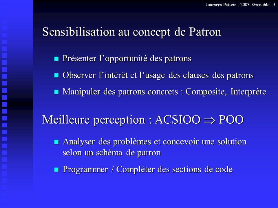 Journées Pattern - 2003 -Grenoble - 5 Sensibilisation au concept de Patron n Présenter lopportunité des patrons n Observer lintérêt et lusage des clau