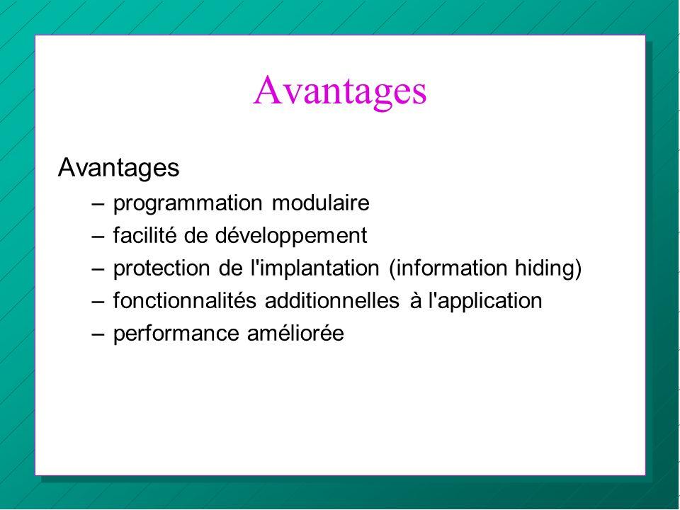 Avantages –programmation modulaire –facilité de développement –protection de l'implantation (information hiding) –fonctionnalités additionnelles à l'a