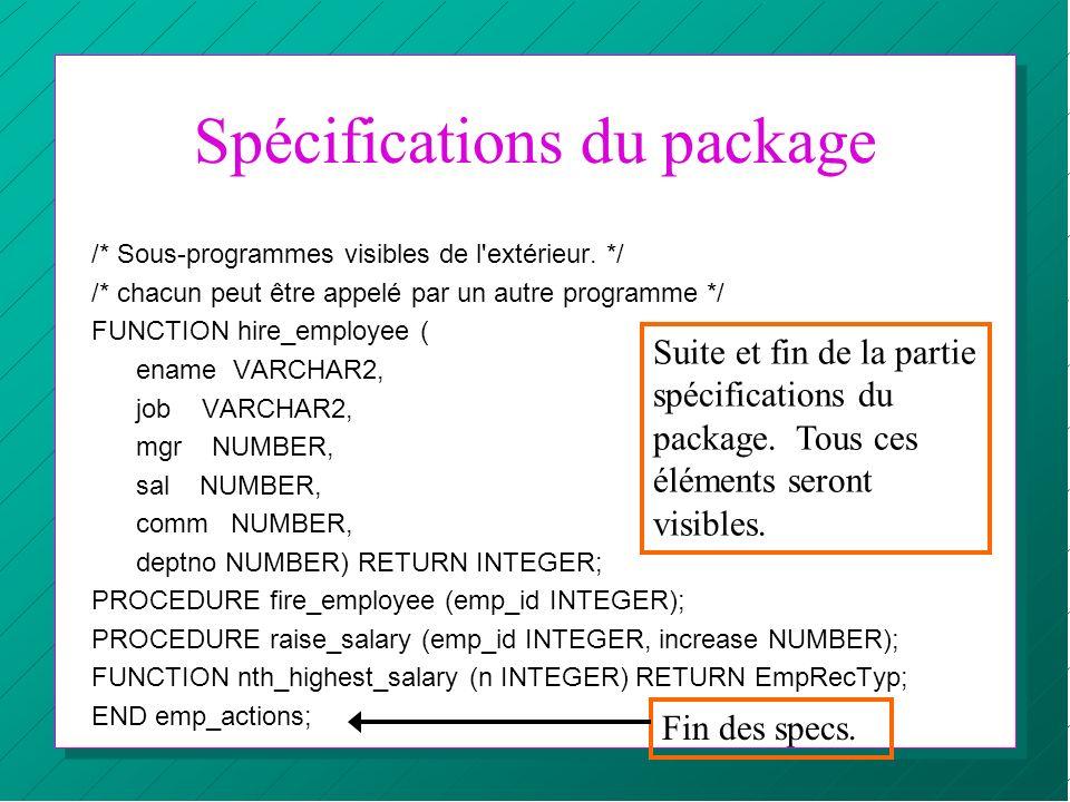 Spécifications du package /* Sous-programmes visibles de l'extérieur. */ /* chacun peut être appelé par un autre programme */ FUNCTION hire_employee (