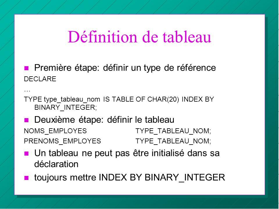 Définition de tableau n Première étape: définir un type de référence DECLARE … TYPE type_tableau_nom IS TABLE OF CHAR(20) INDEX BY BINARY_INTEGER; n D