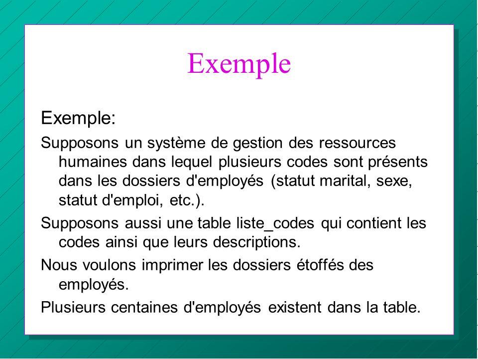 Exemple Exemple: Supposons un système de gestion des ressources humaines dans lequel plusieurs codes sont présents dans les dossiers d'employés (statu