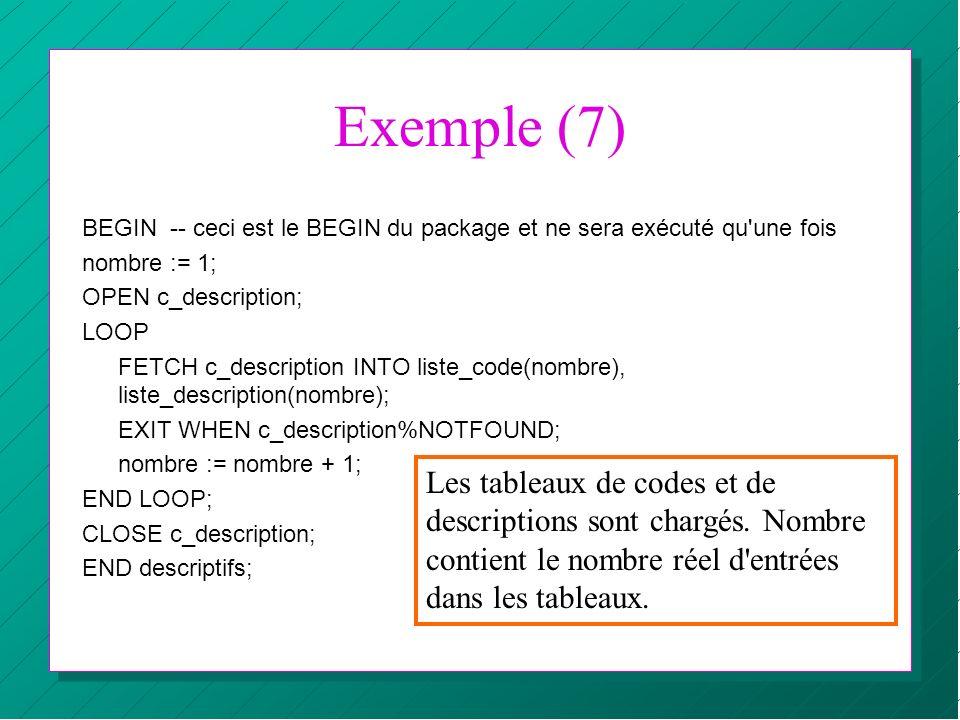Exemple (7) BEGIN -- ceci est le BEGIN du package et ne sera exécuté qu'une fois nombre := 1; OPEN c_description; LOOP FETCH c_description INTO liste_