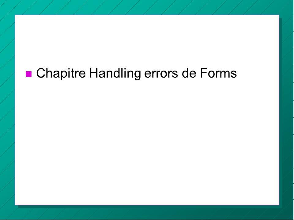 n Chapitre Handling errors de Forms