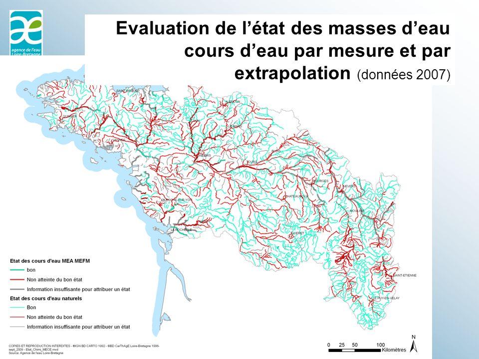 Evaluation de létat des masses deau cours deau par mesure et par extrapolation (données 2007)