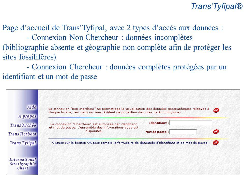 Page daccueil de TransTyfipal, avec 2 types daccès aux données : - Connexion Non Chercheur : données incomplètes (bibliographie absente et géographie