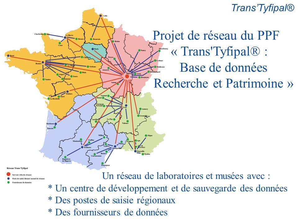 Un réseau de laboratoires et musées avec : * Un centre de développement et de sauvegarde des données * Des postes de saisie régionaux * Des fournisseurs de données Projet de réseau du PPF « Trans Tyfipal® : Base de données Recherche et Patrimoine »