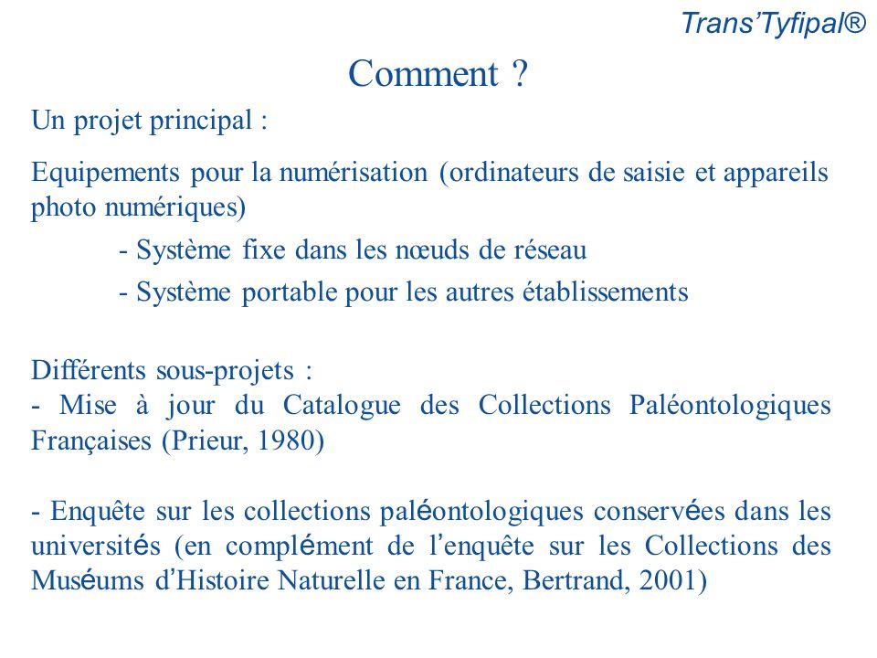 TransTyfipal® Comment ? Différents sous-projets : - Mise à jour du Catalogue des Collections Paléontologiques Françaises (Prieur, 1980) - Enquête sur