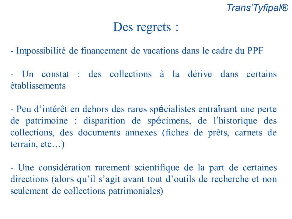 TransTyfipal® Des regrets : - Impossibilité de financement de vacations dans le cadre du PPF - Un constat : des collections à la dérive dans certains