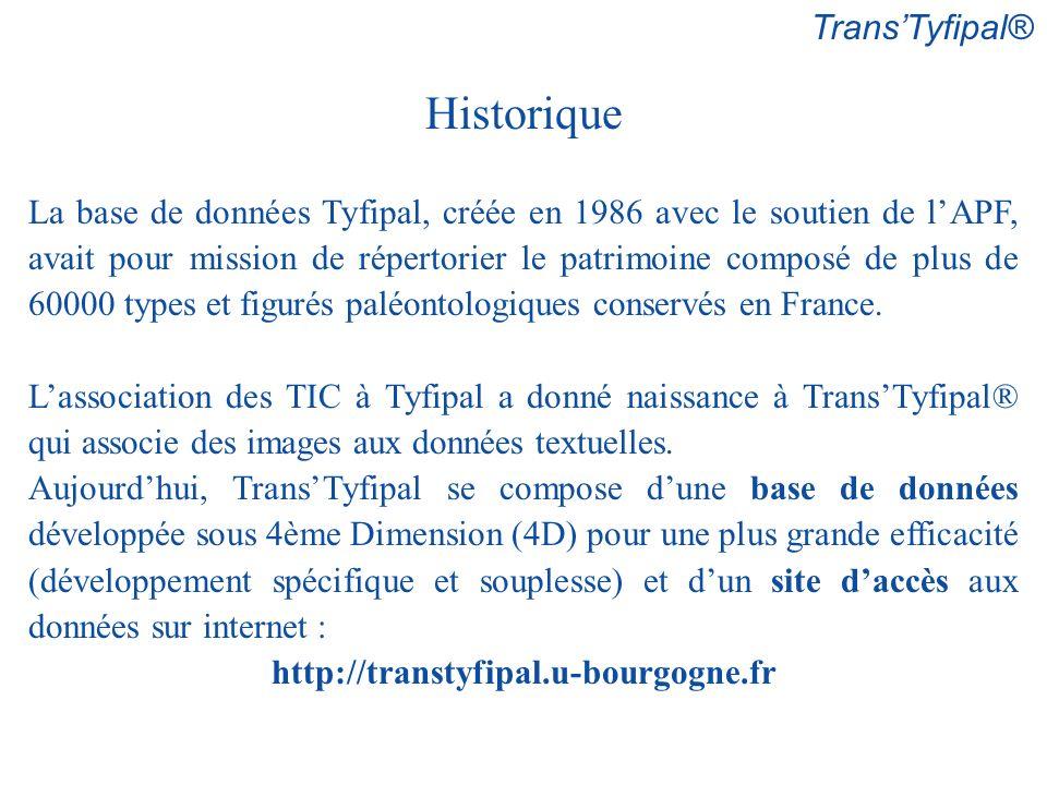 Historique La base de données Tyfipal, créée en 1986 avec le soutien de lAPF, avait pour mission de répertorier le patrimoine composé de plus de 60000 types et figurés paléontologiques conservés en France.