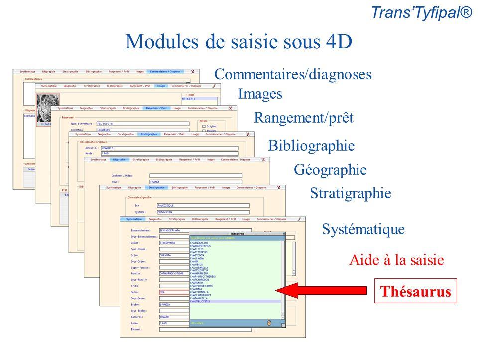 Commentaires/diagnoses Images Rangement/prêt Bibliographie Stratigraphie Géographie Systématique Aide à la saisie Thésaurus TransTyfipal® Modules de saisie sous 4D