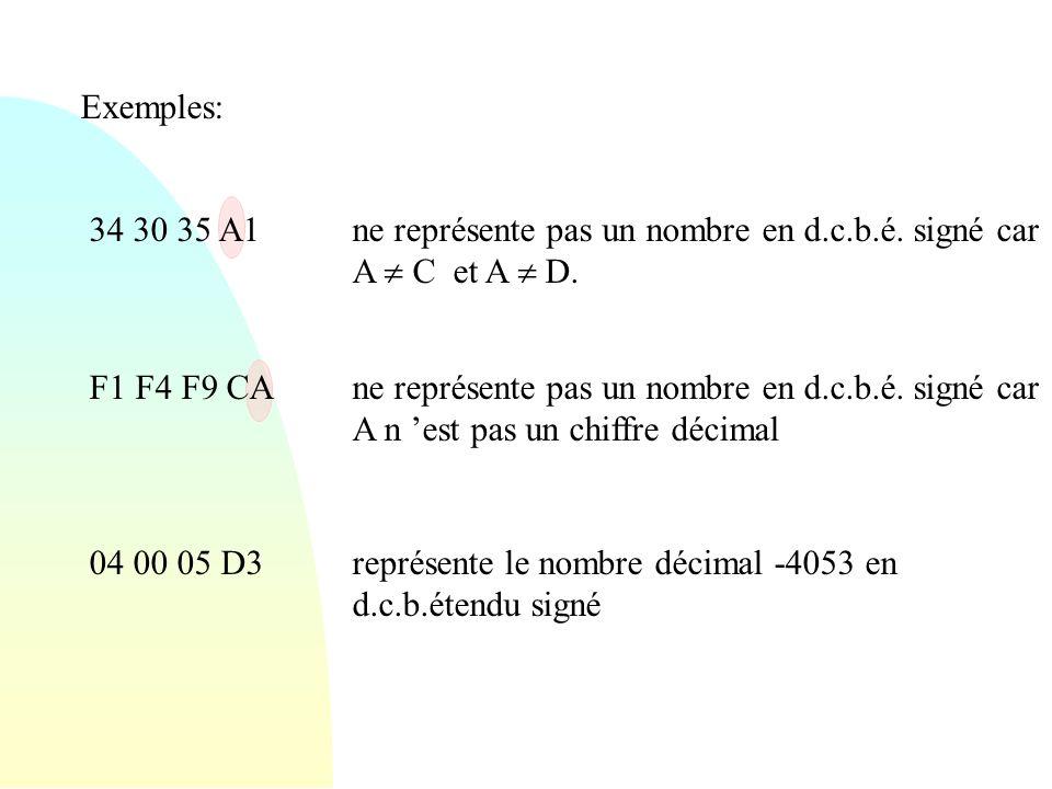 Exemples: 34 30 35 A1ne représente pas un nombre en d.c.b.é. signé car A C et A D. F1 F4 F9 CAne représente pas un nombre en d.c.b.é. signé car A n es