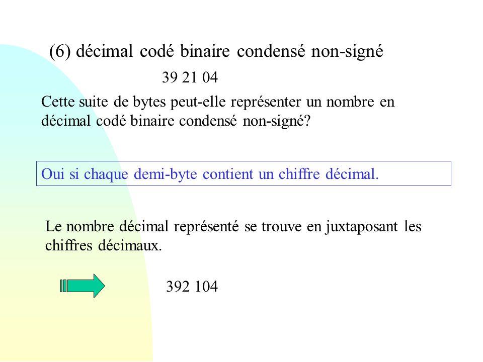 (6) décimal codé binaire condensé non-signé 39 21 04 Cette suite de bytes peut-elle représenter un nombre en décimal codé binaire condensé non-signé?