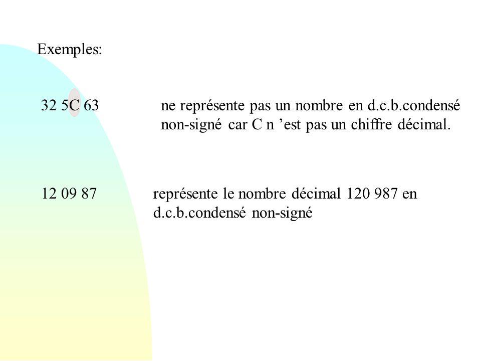 Exemples: 32 5C 63 12 09 87représente le nombre décimal 120 987 en d.c.b.condensé non-signé ne représente pas un nombre en d.c.b.condensé non-signé ca