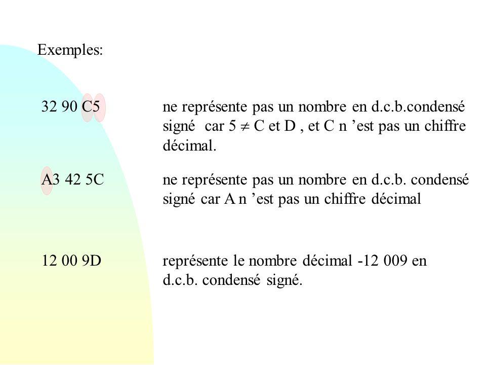 Exemples: 32 90 C5ne représente pas un nombre en d.c.b.condensé signé car 5 C et D, et C n est pas un chiffre décimal. A3 42 5Cne représente pas un no