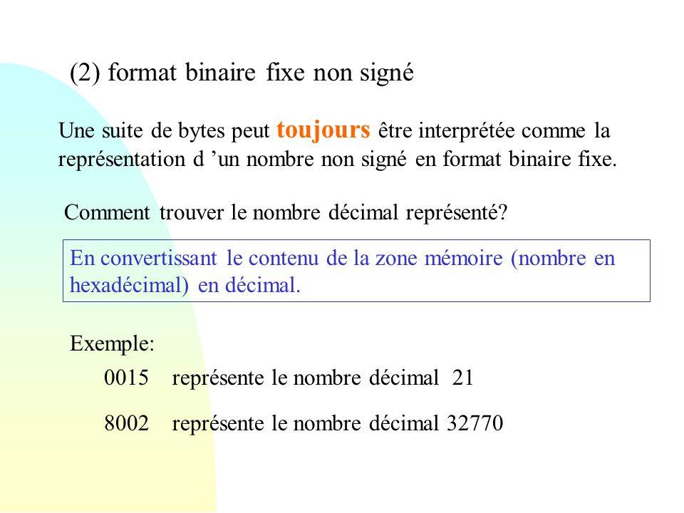 (3) format binaire fixe signé Une suite de bytes peut toujours être interprétée comme la représentation d un nombre signé en format binaire fixe.