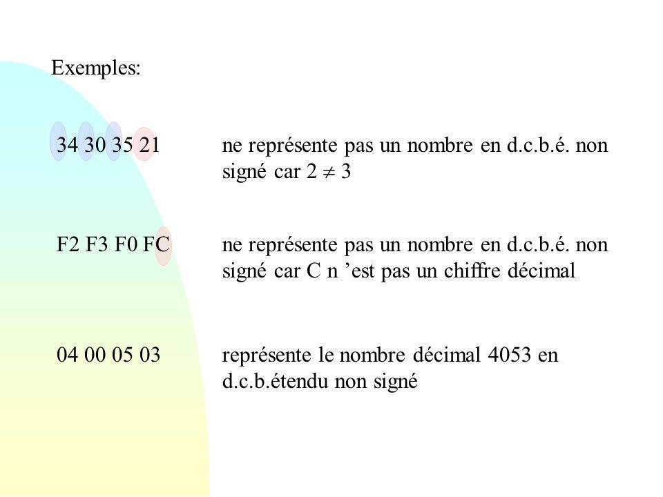 Exemples: 34 30 35 21ne représente pas un nombre en d.c.b.é. non signé car 2 3 F2 F3 F0 FCne représente pas un nombre en d.c.b.é. non signé car C n es