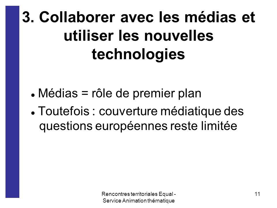 Rencontres territoriales Equal - Service Animation thématique 11 3. Collaborer avec les médias et utiliser les nouvelles technologies Médias = rôle de