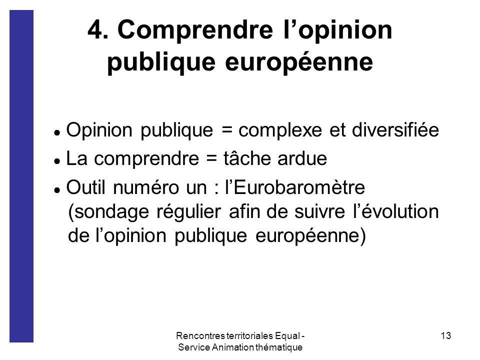 Rencontres territoriales Equal - Service Animation thématique 13 4. Comprendre lopinion publique européenne Opinion publique = complexe et diversifiée