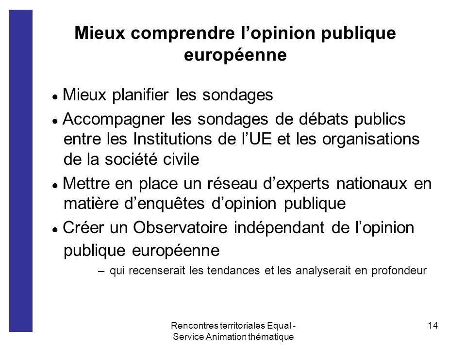 Rencontres territoriales Equal - Service Animation thématique 14 Mieux comprendre lopinion publique européenne Mieux planifier les sondages Accompagne