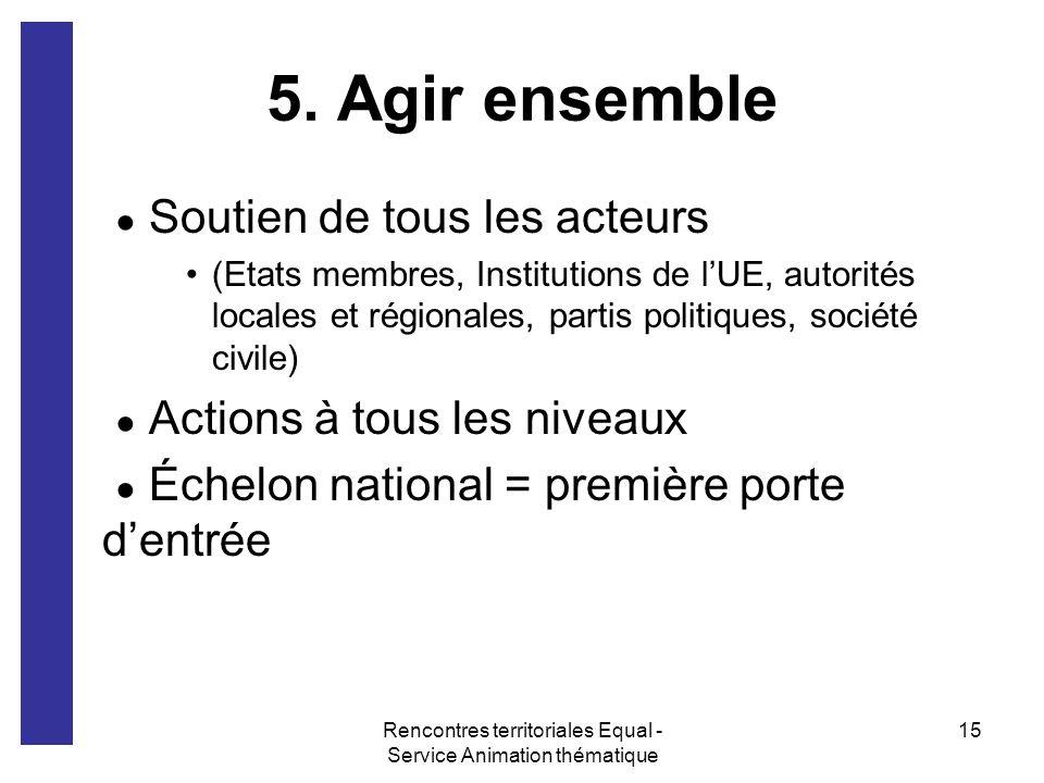 Rencontres territoriales Equal - Service Animation thématique 15 5. Agir ensemble Soutien de tous les acteurs (Etats membres, Institutions de lUE, aut