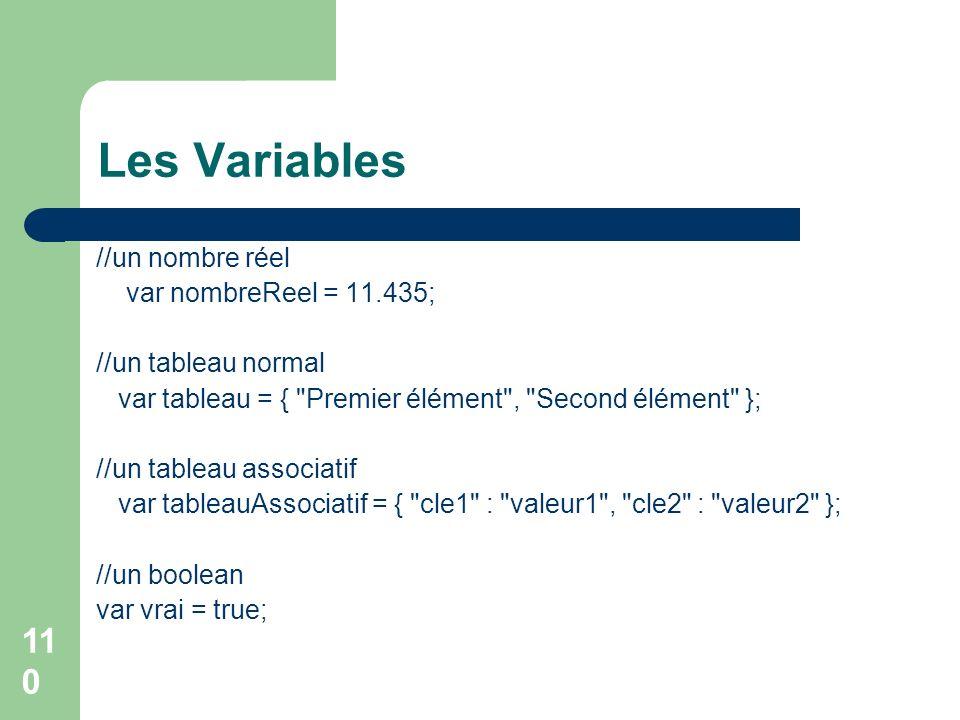 110 Les Variables //un nombre réel var nombreReel = 11.435; //un tableau normal var tableau = { Premier élément , Second élément }; //un tableau associatif var tableauAssociatif = { cle1 : valeur1 , cle2 : valeur2 }; //un boolean var vrai = true;