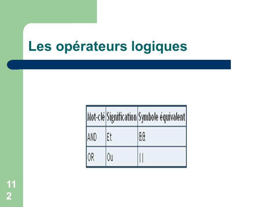 112 Les opérateurs logiques