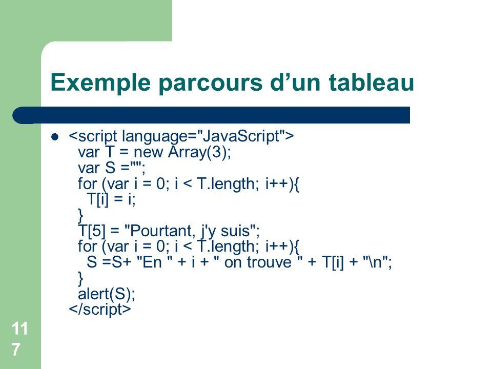 117 Exemple parcours dun tableau var T = new Array(3); var S = ; for (var i = 0; i