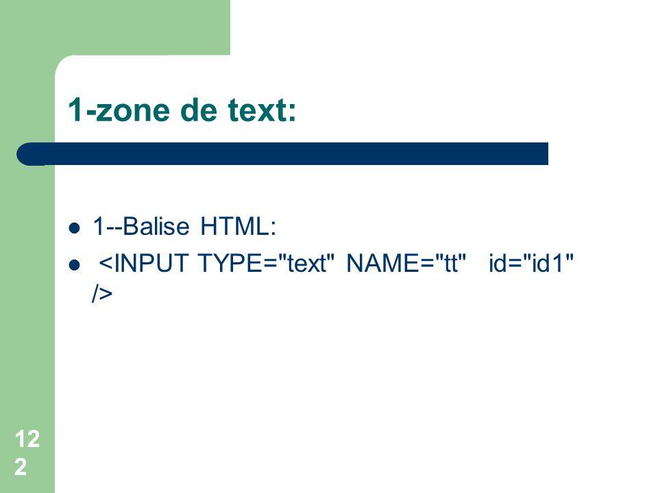 1-zone de text: 1--Balise HTML: 122