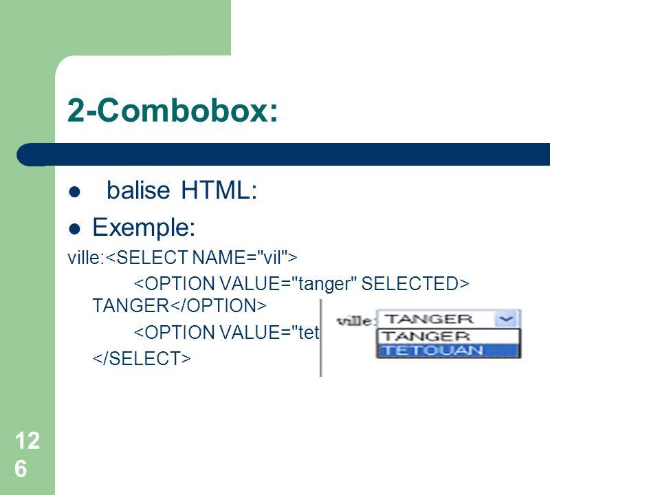 2-Combobox: balise HTML: Exemple: ville: TANGER TETOUAN 126