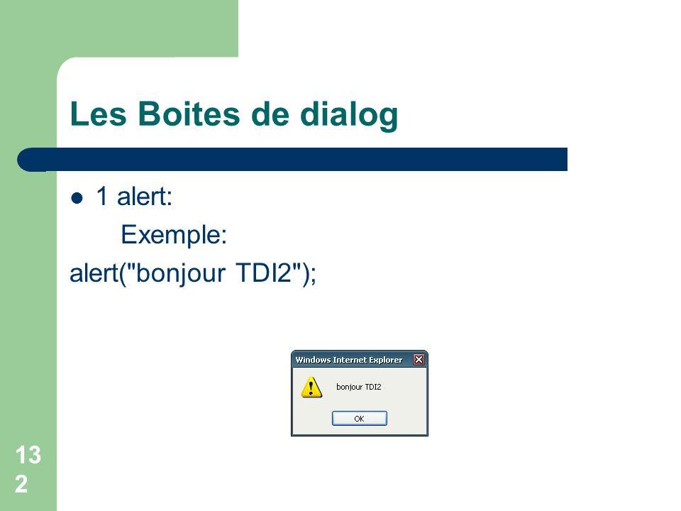 132 Les Boites de dialog 1 alert: Exemple: alert( bonjour TDI2 );