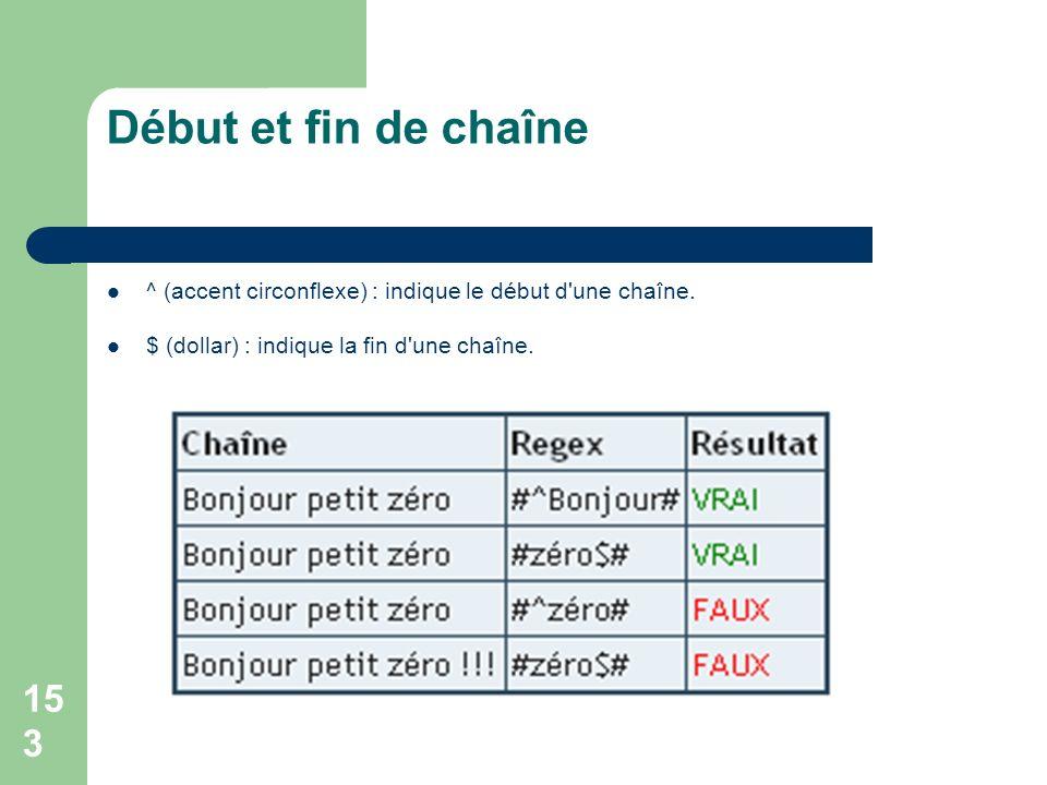 153 Début et fin de chaîne ^ (accent circonflexe) : indique le début d'une chaîne. $ (dollar) : indique la fin d'une chaîne.