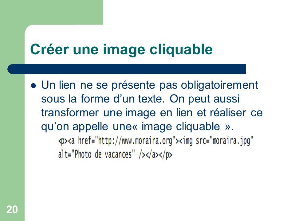 20 Créer une image cliquable Un lien ne se présente pas obligatoirement sous la forme dun texte. On peut aussi transformer une image en lien et réalis