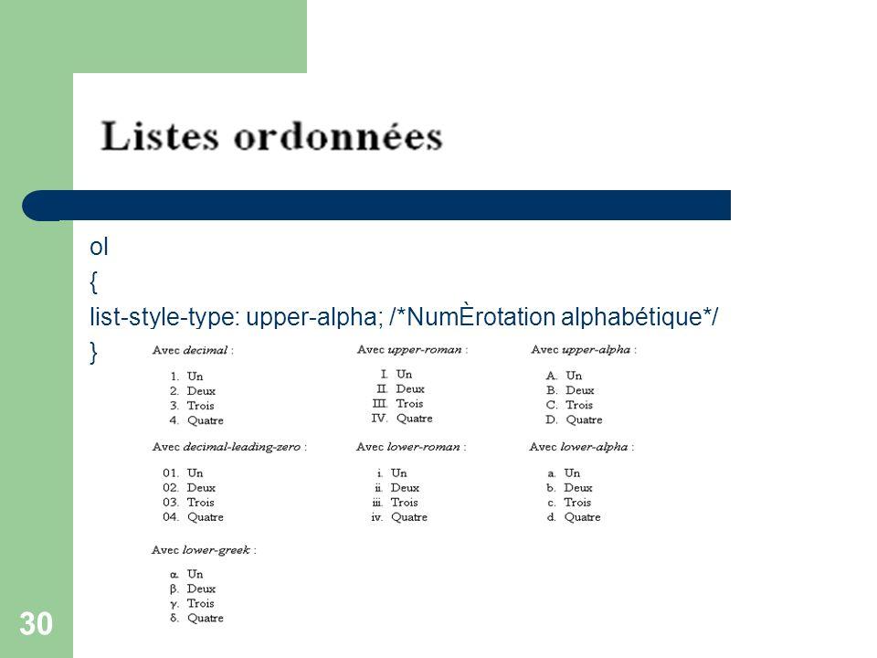30 ol { list-style-type: upper-alpha; /*NumÈrotation alphabétique*/ }