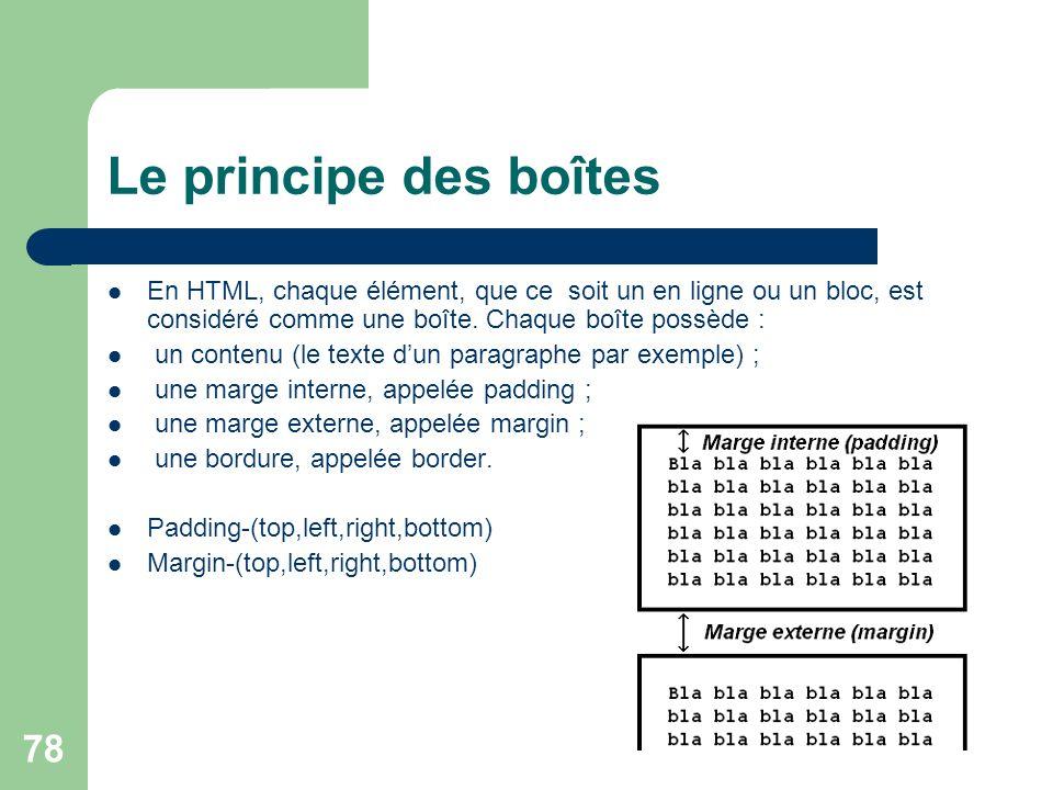 78 Le principe des boîtes En HTML, chaque élément, que ce soit un en ligne ou un bloc, est considéré comme une boîte. Chaque boîte possède : un conten