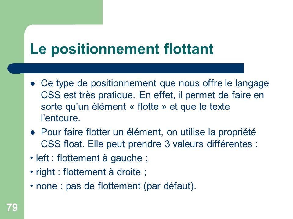 79 Le positionnement flottant Ce type de positionnement que nous offre le langage CSS est très pratique.