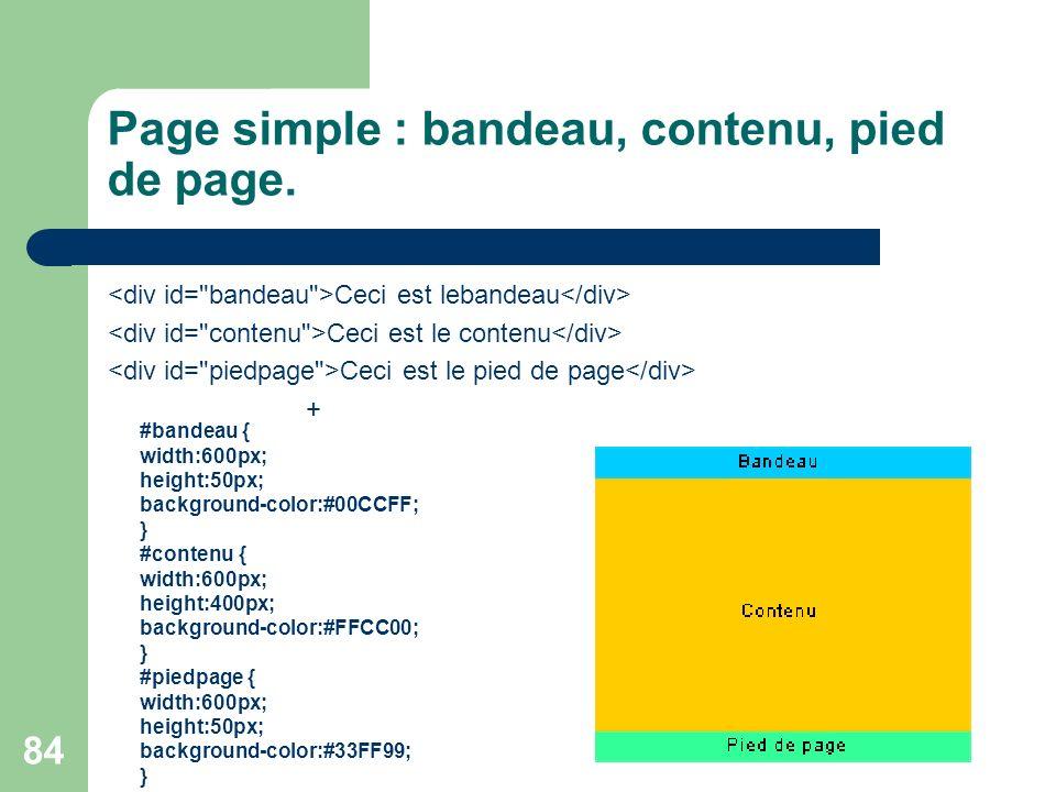 84 Page simple : bandeau, contenu, pied de page. Ceci est lebandeau Ceci est le contenu Ceci est le pied de page + #bandeau { width:600px; height:50px
