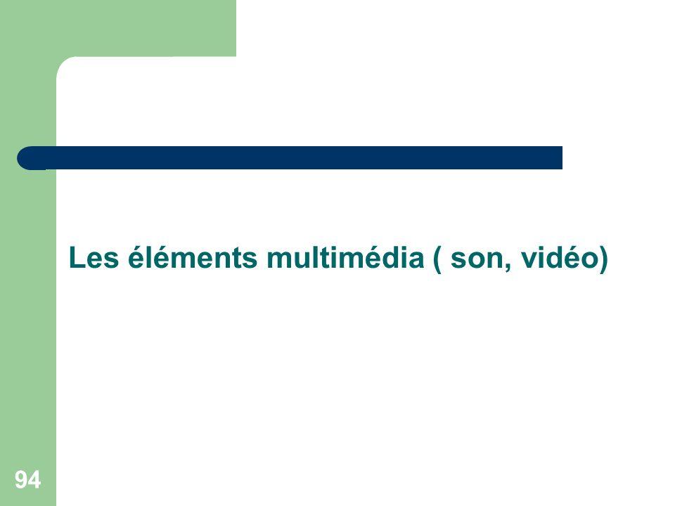 94 Les éléments multimédia ( son, vidéo)