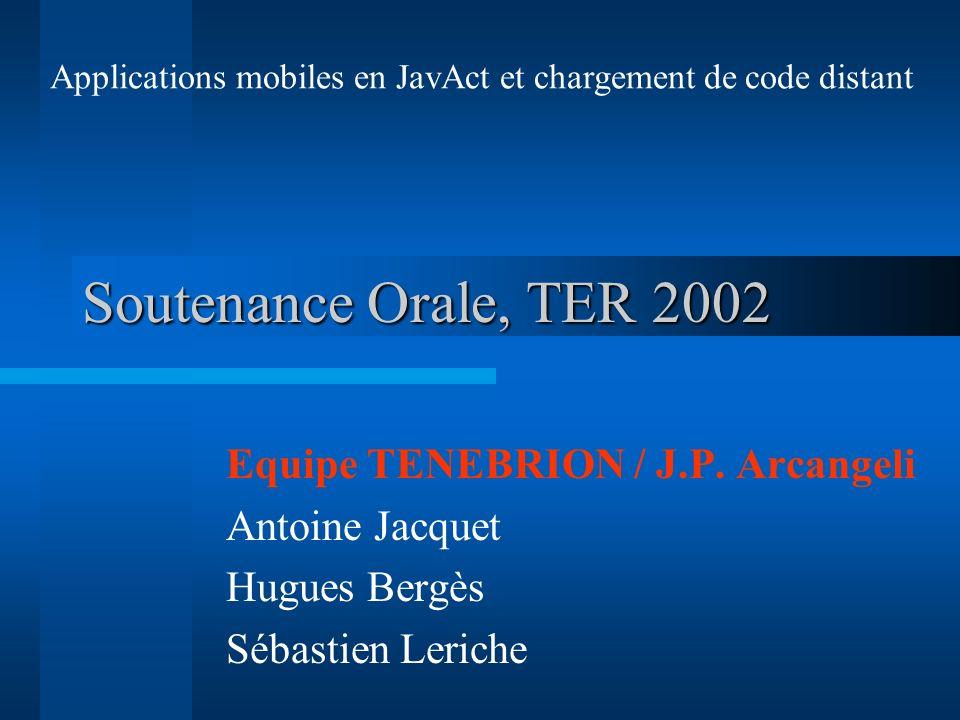 Soutenance Orale, TER 2002 Equipe TENEBRION / J.P. Arcangeli Antoine Jacquet Hugues Bergès Sébastien Leriche Applications mobiles en JavAct et chargem