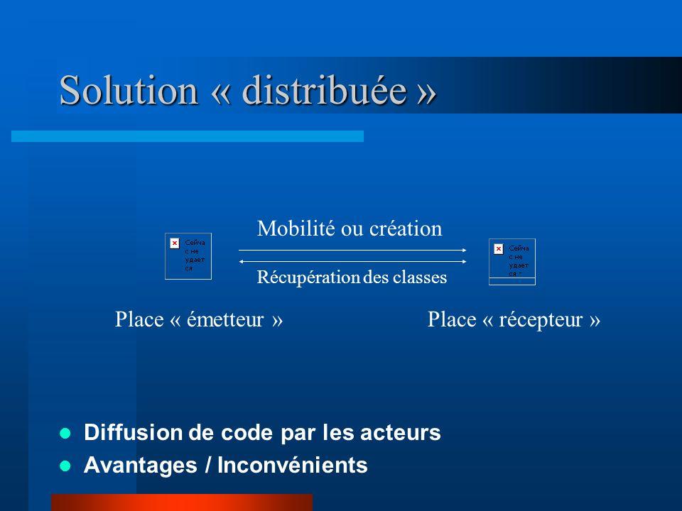 Solution « distribuée » Diffusion de code par les acteurs Avantages / Inconvénients Place « émetteur »Place « récepteur » Mobilité ou création Récupér