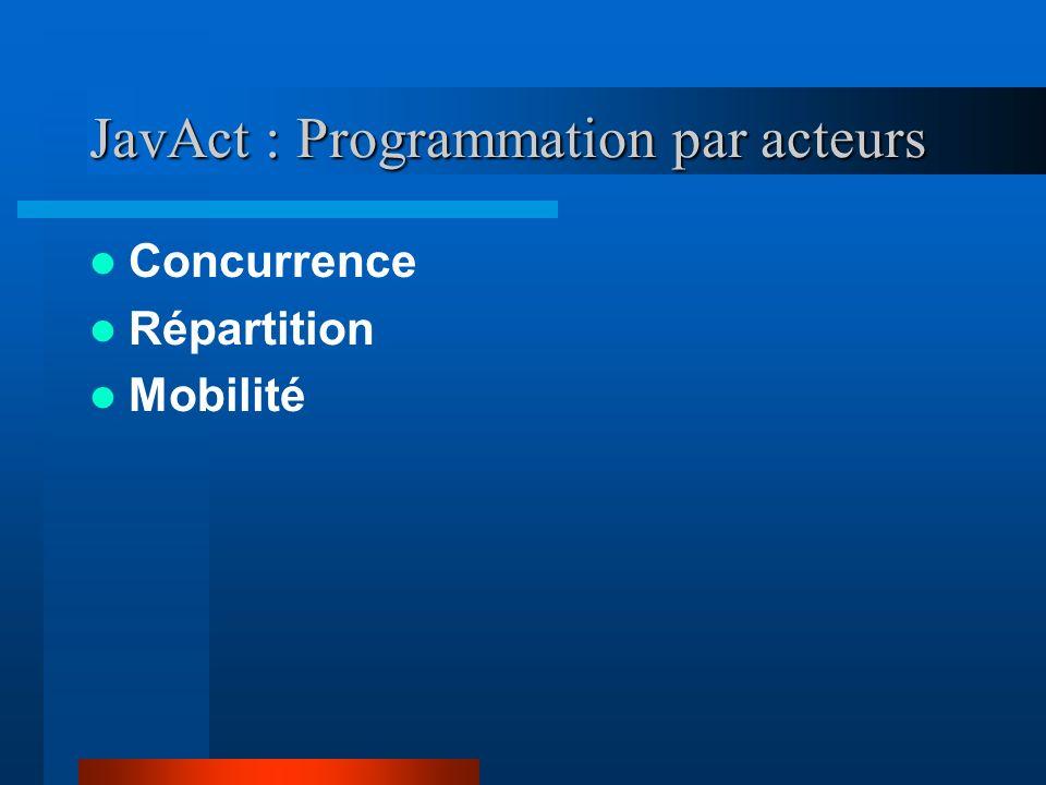 JavAct : Programmation par acteurs Concurrence Répartition Mobilité