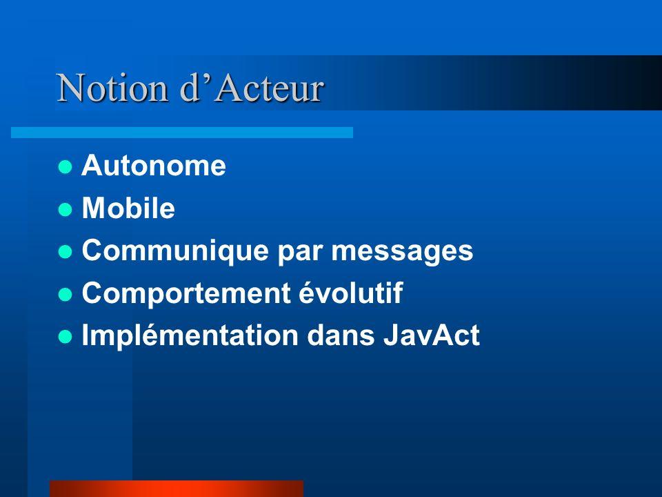 Notion dActeur Autonome Mobile Communique par messages Comportement évolutif Implémentation dans JavAct