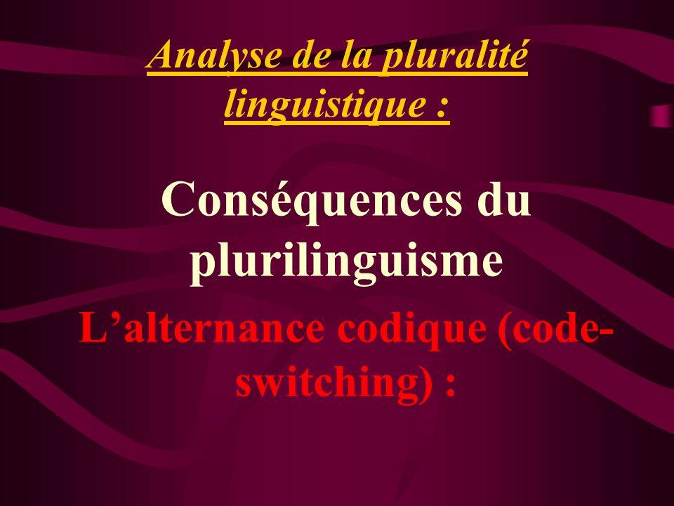 Analyse de la pluralité linguistique : Conséquences du plurilinguisme Lalternance codique (code- switching) :