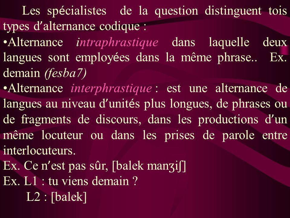 Les sp é cialistes de la question distinguent tois types d alternance codique : Alternance intraphrastique dans laquelle deux langues sont employ é es