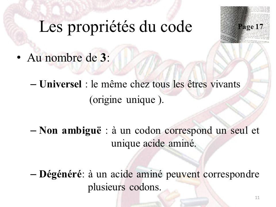 Les propriétés du code Au nombre de 3: – Universel : le même chez tous les êtres vivants (origine unique ). – Non ambiguë : à un codon correspond un s