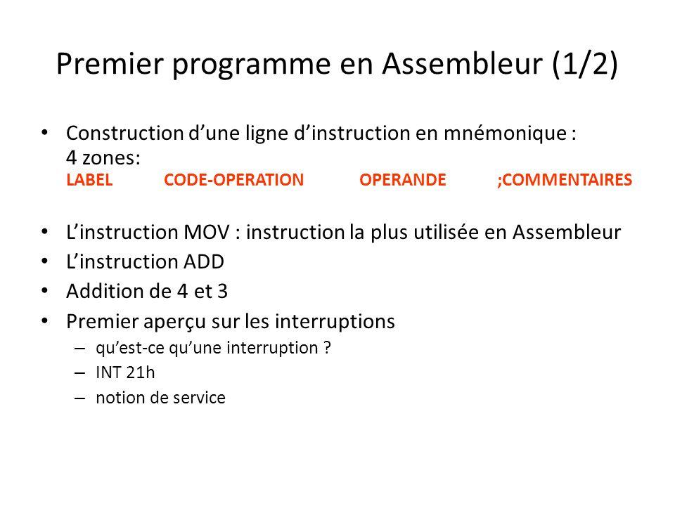 Premier programme en Assembleur (1/2) Construction dune ligne dinstruction en mnémonique : 4 zones: LABEL CODE-OPERATION OPERANDE ;COMMENTAIRES Linstr