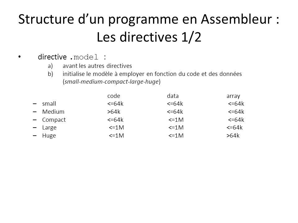 Structure dun programme en Assembleur : Les directives 1/2 directive.model : a)avant les autres directives b)initialise le modèle à employer en foncti