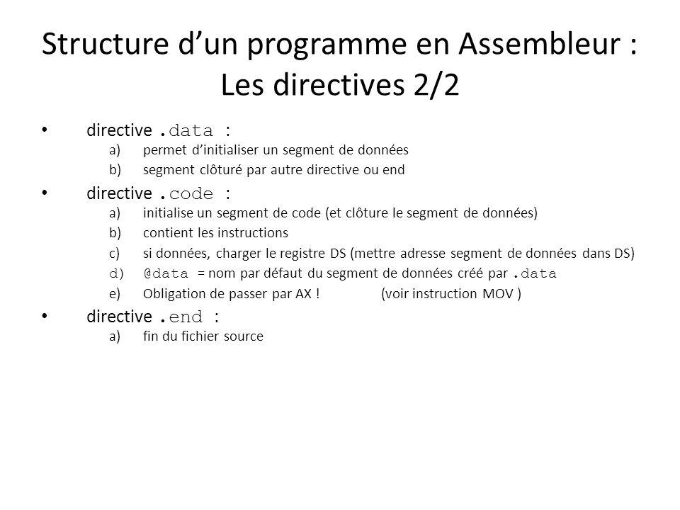 Structure dun programme en Assembleur : Les directives 2/2 directive.data : a)permet dinitialiser un segment de données b)segment clôturé par autre di