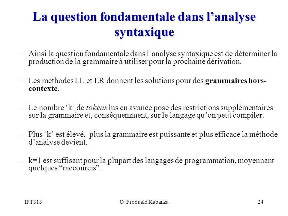 IFT313© Froduald Kabanza24 La question fondamentale dans lanalyse syntaxique Ainsi la question fondamentale dans lanalyse syntaxique est de déterminer