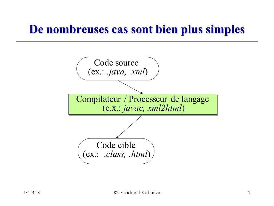 IFT313© Froduald Kabanza8 Modèle analyse-synthèse de la compilation Il y a deux phases principales dun processeur de langage: analyse (front-end) synthèse (back-end) La phase analyse vérifie la syntaxe du code source et produit une représentation intermédiaire du code source (arbre sémantique).